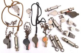"""21 various whistles, mostly WWII military: 3 Air Ministry marked dinghy whistles; 7 """"Metropolitan"""""""