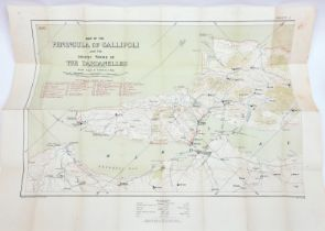 """A pre WWI War Office map on linen of the """"Peninsula of Gallipoli and the Asiatic shore of the"""