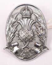 A rare pre 1952 Edinburgh City Police cap badge size chrome plated helmet plate. GC £65-70