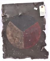 """A WWII Czech Air Force aluminium panel, 15½"""" x 12"""", roughly cut from the fuselage of an aeroplane,"""
