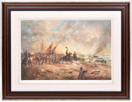"""""""Wellington's Finest Hour"""" a coloured print of an incident at Waterloo, by David Cartwright, a"""