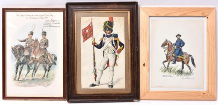 """A coloured print by """"Chas C Stadden"""", of two mounted Hussar officers, inscribed in ink across the"""