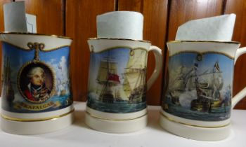 A set of 6 Nelson commemorative tankards, made by Wedgwood, issued by Danbury Mint: Cape St Vincent,