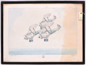 A large watercolour painting of three 1930s Hawker Harrier bi-planes of 19 Squadron RAF in flight,