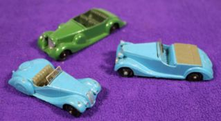 3x Dinky Toys 38 series cars. Frazer Nash BMW Sports car (38a) in blue with grey seats and black