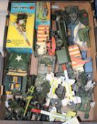 25+ Corgi, Britains, Lone Star etc military vehicles and equipment. Corgi - 3x RAF Land Rover, 2x