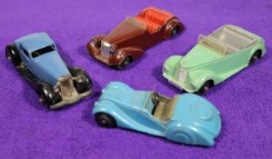 4 Dinky Toys. Bentley (36b). In mid blue with black closed chassis. BMW Frazer Nash (38a). An