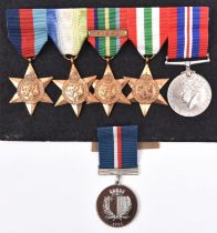 Five: 1939-45 star, Atlantic star, Pacific star with Burma clasp, Italy star, War medal (un-named as