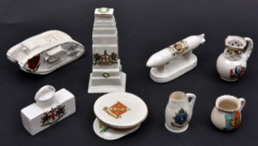 8 crested china items, comprising: WWI Zeppelin (City of Exeter); WWI tank (Redcar); The Cenotaph (
