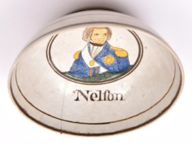 An early 19th century glazed earthenware bowl, decorated with a naive coloured depiction of