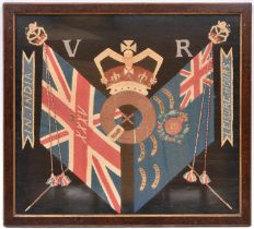 A 19th century embroidered wool panel, depicting crossed colours of the 35th Foot, surmounted by a