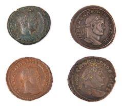 Roman AE coins (4): Severus Alex. AE As, F (legend unclear); Constantius I Follis, rev. Salvs Avgg