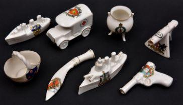 8 crested china items comprising: WWI machine gun (City of London); Warship (Smethwick);