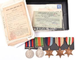 Five: 1939-45 star, Africa star, Italy star, Defence and War (un-named as issued) attributed to PO/X