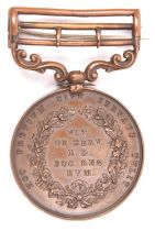 Royal Humane Society bronze medal for a successful rescue (Henry Wallace Michels 1st May 1882), GVF,
