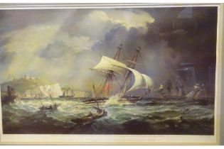 """An attractive coloured lithograph print """"Schooner Yacht """"Flower of Kent"""" leaving Dover, c 1840"""","""