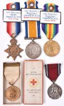 Three: 1914-15 star, BWM, Victory (K15881 A H Thorn Sto 1, RN) Fair/worn. A British Red Cross