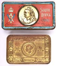 A Boer War tin chocolate box, the coloured lid embossed with medallion containing a bust of Queen