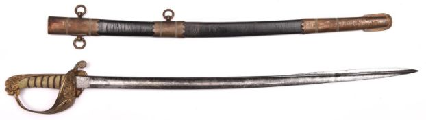 """A scarce naval midshipman's sword c 1850, fullered blade 24"""" with spear point and traces of etching,"""