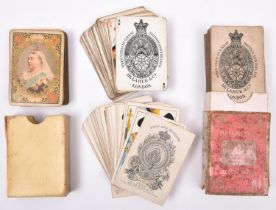 4 sets of playing cards: Victorian 3rd Dragoon Guards by De LaRue & Son; Victoria Diamond Jubilee