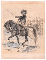 An original R. Caton Woodville sketch, dated 1889, depicting a mounted Oliver Cromwell, with drawn