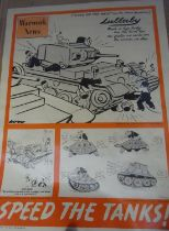 """A WWII poster """"Speed the Tanks"""", headed """"Warwork News No 7 1941"""", with cartoons of workers"""