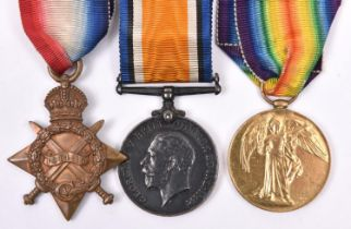 Three: 1914-15 star, BWM, Victory(1791 Cpl (later Pte) P S Shaw S Lan R) GVF/EF. Recipient reduced