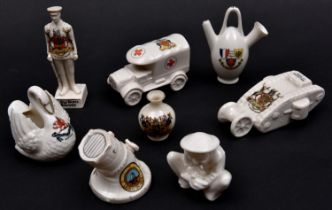 8 crested china items comprising: WWI ambulance (Glasgow); WWI Tommy (City of Nottingham); WWI naval