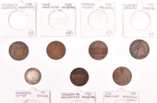 British token coins (7): Newcastle on Tyne AR shilling 1811, obv: figure of Commerce seated left,