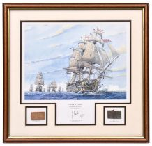 A limited edition coloured print of HMS Victory at sea, leading the fleet, from the original