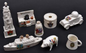8 Crested China Items comprising Edith Cavell Memorial (Morecambe), Cooking Range (Oxford), WWI