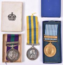 G.S.M. 1918, 1 clasp Palestine 1945-48 (7589319 Cfn. A.W. Waldron R.E.M.E.), GVF. Pair: Queen's