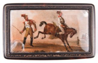 A mid 19th century French snuff box, the interior of tortoiseshell veneered externally with exotic