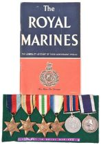 Six: 1939-45 star, Africa star, Italy star, Atlantic star, War, Naval LS & GC EIIR issue 3rd type (