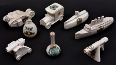 7 WWI themed crested china items comprising: Tank (City of London); The Lusitania (Brighton);