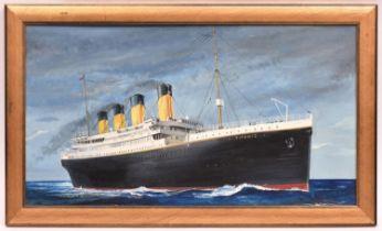 A gilt wood framed oil painting of the White Star Liner Titanic. 65.5cm x25.5cm within frame.