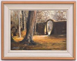 An oil painting on board, possibly of the entrance to the walled garden at Preston Manor, Brighton