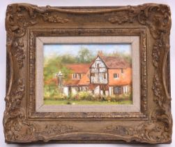 An original David Shepherd oil on board of his house. Signed in the lower right corner. Mounted