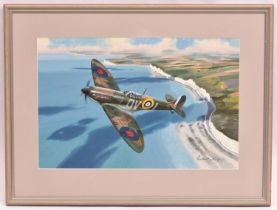 An impressive glazed and famed watercolour of an RAF MK1a Spitfire over The Seven Sisters in East