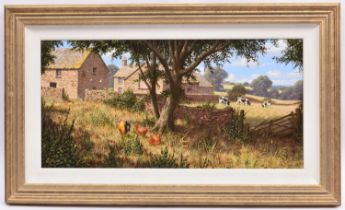 Edward Hersey, oil painting on canvas. A rural scene with farmhouse, barn, chickens and cows. Signed