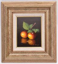 Ronald Berger, oil painting on board. A still life with two apples. Signed in the bottom right