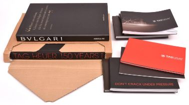 10x Bulgari and TAG Heuer watch catalogues and books. A Bulgari Collection persentation book in a