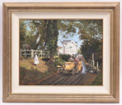 Malcolm Root, oil painting on canvas. A rural scene with early Renault(?) car. Signed and dated 1997