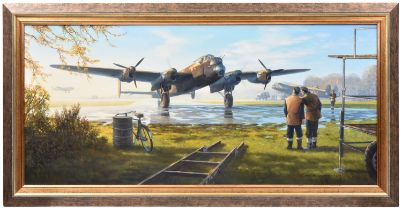 An oil painting on canvas entitled 'First Light' by the aviation artist Mark Postlethwaite GAvA,