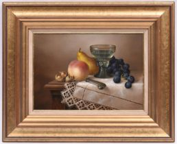 Brian Davies (1942 - 2014), oil painting on canvas. A still life with glass and fruit. Signed in the