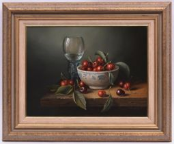 Brian Davies (1942 - 2014), oil painting on canvas. A still life with glass and bowl of cherries.