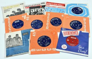 """22x 7"""" vinyl singles by Elvis Presley and The Rolling Stones. 15x Rolling Stones including; Mother's"""