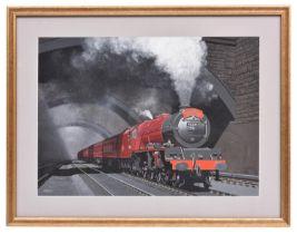 Victor Welch, gouache/watercolour. The Merseyside Express. BR 4-6-2 tender locomotive Princess
