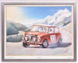 A limited edition framed print 'Home Straight' depicting Paddy Hopkirk and Henry Liddon on their way