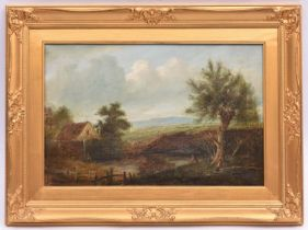 An oil painting by Charles Greville Morris (1861-1922). Oil on canvas of a rural scene with a